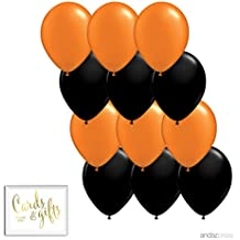 Andaz Press 11-inch Latex Balloon Duo Party Kit with Gold Cards & Gifts Sign, Orange and Black, 12-pk, Halloween Decorations
