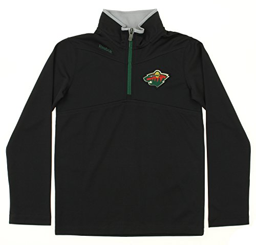 (Outerstuff NHL Youth Boys Minnesota Wild Long Sleeve 1/4 Zip Top, Black Large)