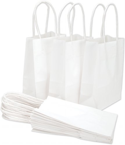Doodle Art Supply® White Small Paper Gift Handle Bags Approx. 5.25'' x 3'' x 8.5'' Size Shopper Wedding Wholesale Lot (24) by Doodles Art Supply®