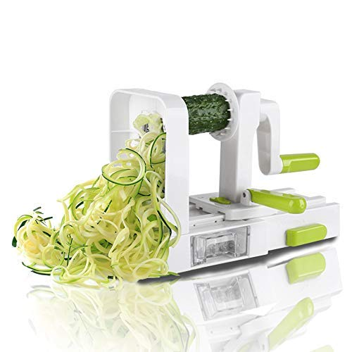 (Midas 5-Blade Spiralizer Vegetable Slicer, Foldable Spiral Slicer, Strongest-and-Heaviest Duty Veggie Pasta Spaghetti Maker for Healthy Low Carb/Paleo/Gluten With Extra Blade Caddy)