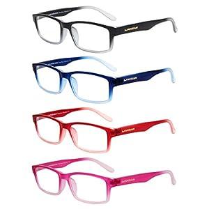 LianSan Designer Womens Mens Plastic Reading Glasses Light Weight Rectangular Magnifying Eyeglasses Fashion Style Eye Strain Readers 2.0 1.5 1.0 2.5 3.0 3.5 4.0 4 Pack L3713 (+2.00)