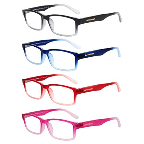 LianSan Designer Womens Mens Plastic Reading Glasses Light Weight Rectangular Magnifying Eyeglasses Fashion Style Eye Strain Readers 2.0 1.5 1.0 2.5 3.0 3.5 4.0 4 Pack L3713 - For Readers Small Faces