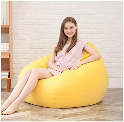 RKRGQ Reißverschluss Sitzsack Home Riesensitzsack Sitzsack Bezug Faules Einzelnes Schlafzimmer Niedliches Kleines Sofa Personifiziertes Grundsitzsacksofa (Color : Yellow, Size : 43.3x49.2in(Liner))