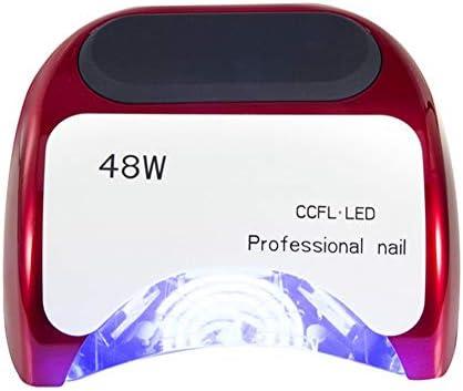 ネイルドライヤー 48Wファストネイルドライヤー用ゲルポーランド、プロフェッショナルジェルランプマシンの自動センサー付き3タイマー設定10/20 / 30S 手足兼用 (Color : Red)