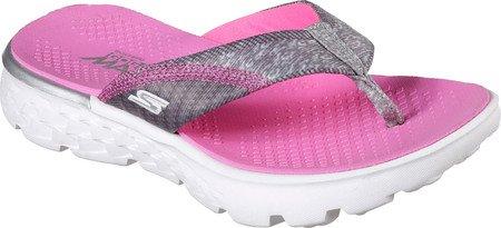 Skechers Girls' On The GO 400 Lil Pizazz Flip-Flop,Gray/Pink