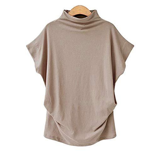 VICCKI Women Turtleneck Short Sleeve Cotton Solid Casual Blouse Top T Shirt Plus KH/3XL -