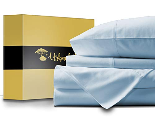 URBANHUT Egyptian Cotton Sheets Set - 1000 Thread Count 100% Cotton Bed Sheets Queen (4 Piece), Luxury Queen Size Sheets, Deep Pocket, Soft & Silky Sateen Weave (Light Blue)
