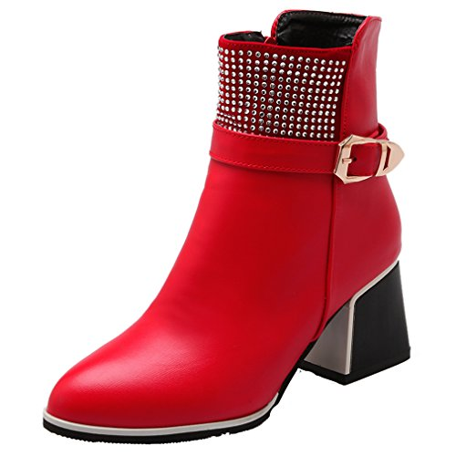 ENMAYER Womens Closed Square Heel Soft Material Short Plush Boots With Belt And Rhinestone Red
