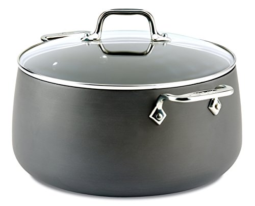 All-Clad E7855264 HA1 Hard Anodized Nonstick Dishwasher Safe PFOA Free Stock Pot Cookware, 8-Quart, Black Dishwasher Safe Stock Pot