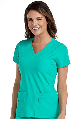 Med Couture Activate Women's V-Neck Racerback Scrub Top, Spearmint, X-Small