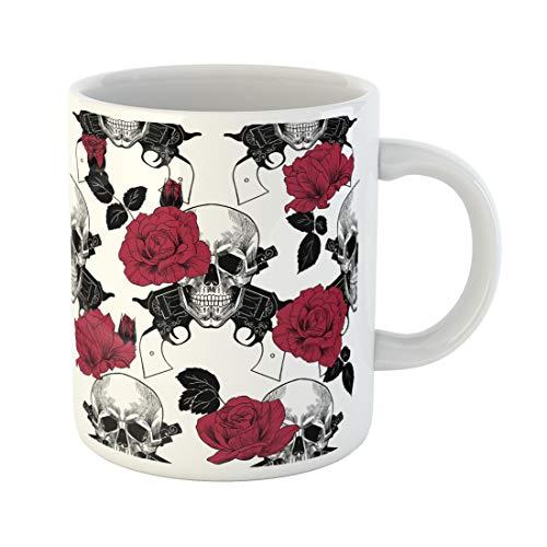- Semtomn Funny Coffee Mug Gun Skulls Red Roses and Pistols West Wild Anatomy 11 Oz Ceramic Coffee Mugs Tea Cup Best Gift Or Souvenir