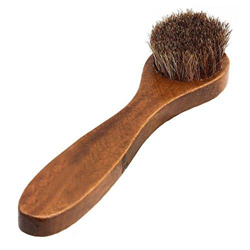 BleuMoo Long Wood Handle Horse Bristle Hair Brush Shoes Boot Polish Buffing Brush Care Tool