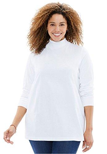 Pullover Turtleneck Mock (Women's Plus Size Perfect Mock Neck Knit Top White,2X)