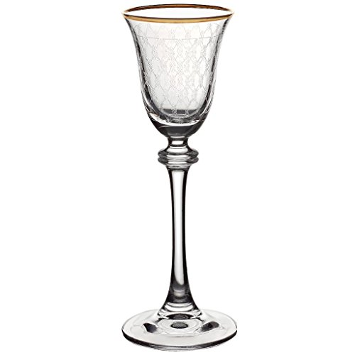 - CRISTALICA Liqueur Goblet, Brandy Glass, Crystal Glasses ALEXANDRA With Golden Accents, Pantograph Technique, Crystal Glasses, Modern Style (AMARA DESIGN powered by