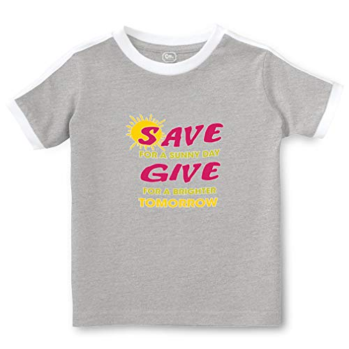 Save for A Sunny Day Give for A Brighter Tomorrow Short Sleeve Crewneck Boys-Girls Toddler Cotton Soccer T-Shirt Sports Jersey - Oxford Gray, 4T ()