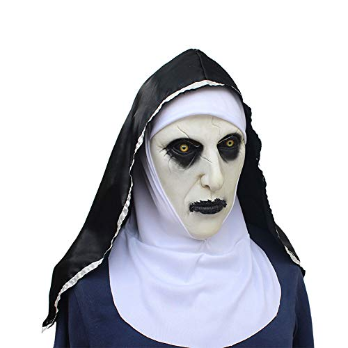 GOBEAUTY Halloween Masks ,Halloween Props ,The Conjuring 2 Devil Nun Horror Masks with Wimple Costume
