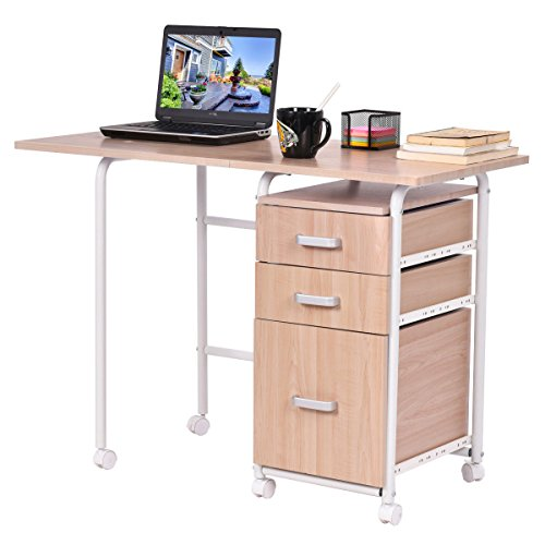 TANGKULA Folding Computer Laptop Desk Wheeled Home Office Fu