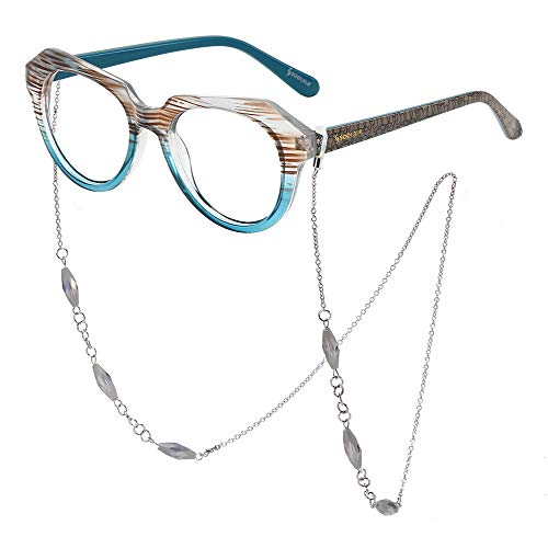 SOOLALA Striped Reading Glass Eyeglass Frame with Necklace Chains Retainer, Blue, 1.5