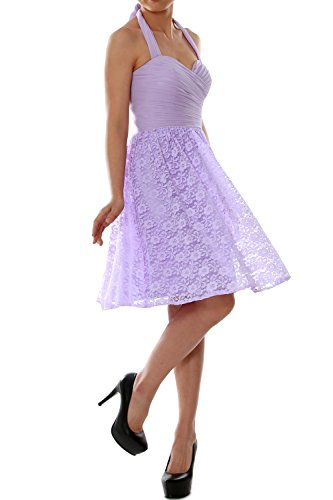 MACloth Women Halter Short Bridesmaid Dress Cocktail Wedding Party Formal Gown Lavanda