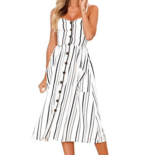 HODOD Casual Beach Off Shoulder Sleeveless Black Striped Dresses Button Dress with Pockets for Women (Strapless Tea Length)