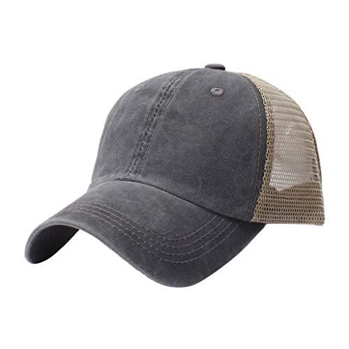 (Benficial Men Women Washed Twill Cotton Baseball Cap Vintage Adjustable Dad Hat Gray)