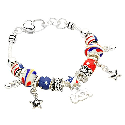 Patriotic Themed Costume Ideas (Rosemarie Collections Women's USA American Flag Glass Bead Charm Bracelet (Silver Tone))