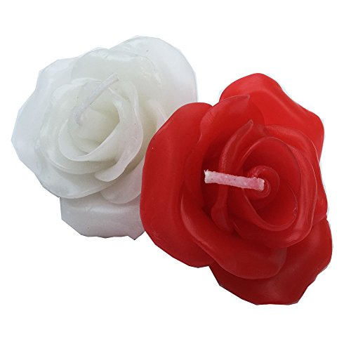 """Asiana Home Decor Rose Floating Candles. Rose Candle Scent. Decorative Floating Candle. Wedding Gift Flavor. Pack of 10, Size 2.5"""" Diameter (Red)"""
