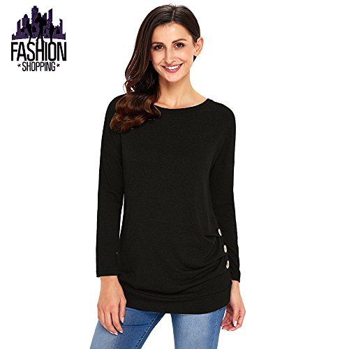 Womens Casual Tops Long Sleeve Loose Fit T Shirts Tunic Sweatshirt Blouse Tee Black Size Large