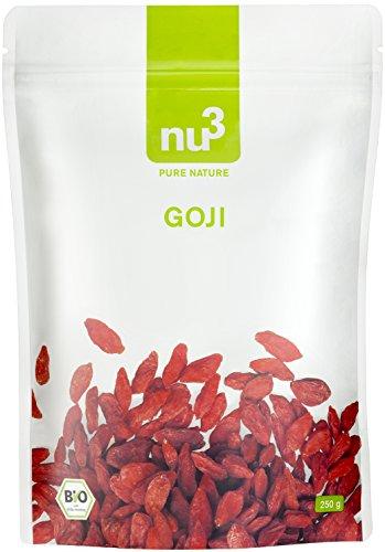 nu3 Premium Bio Goji Beeren 250g - Besonders aromatisch da in ökologischem Anbau an der Sonne getrocknet und handverlesen - Qualität in Deutschland geprüft und bestätigt