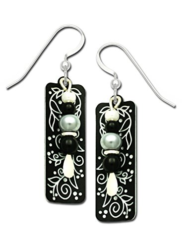 - Adajio Earrings Black White Column 2 Part Vines Berries Beads Hand Painted with Gift Box Made in USA