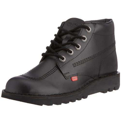 Kickers Mens Kick HI Black Leather Smart Casual Work School Shoes Boots Size 9 - Kickers Shoes Boots