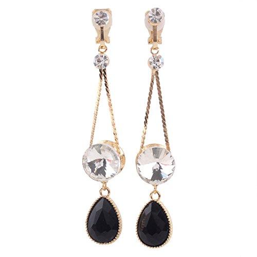 (Grace Jun Bridal Vintage Black Austrian Crystal Water Drop Clip on Earrings Non Piercing for Women Ear Clip)