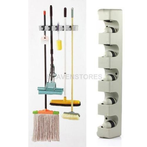 5 Racks Kitchen Storage Brush Mop Broom Holder Organizer Tool Wall Mount Hanger from Unknown