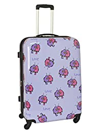 Ed Heck Multi Love Birds Hard Side Spinner Luggage 28-Inch, Light Purple, One Size