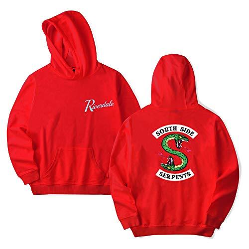 Riverdale Series Serpiente Sudadera Deportiva Casual Para Hombres Mujeres Sudadera Con Capucha,Red,XS