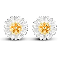 Morenitor Jewelry Stud Earrings 18k Gold-plated Sterling Silver Daisy Flower Earring Stud Jewelry Mothers Day Gifts for Women