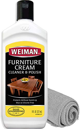Weiman Furniture Polish and Cleaner (8 Ounce with Microfiber Cloth) Furniture Cream with Lemon Oil Restore Luster and Prevent Sun Damage Without Dulling Buildup (Teak Table Restore)