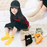 5 Packs Baby Girls Knee High Princess Seamless Bowknot Cotton Ankle Socks for Age 0-5