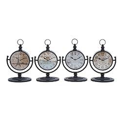 Deco 79 92200 Metal Desk Clock, 4 Assorted, 12 by 8