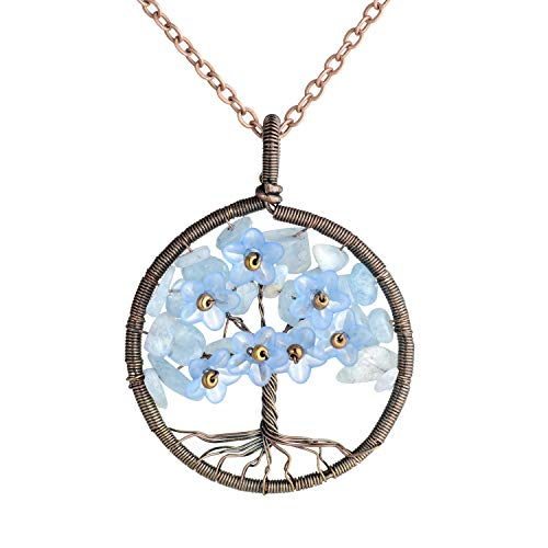 Tree of Life Necklace Aquamarine Pendant Necklace Copper Wire Wrapped Pendant Jewelry Yoga Healing Necklace]()