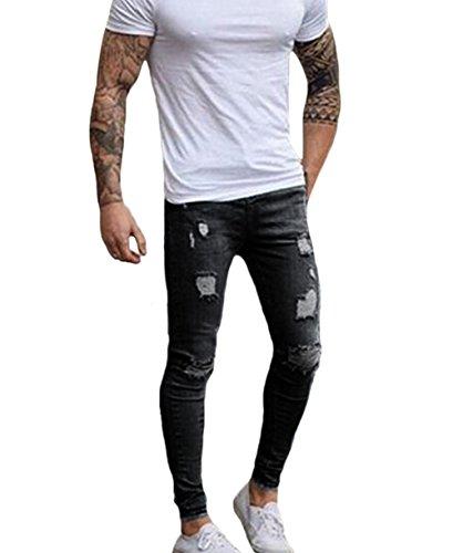 XARAZA Men's Ripped Skinny Denim Jeans Slim Fit Stretch Penc