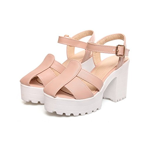 Buckle Womens Sandals Pink AllhqFashion PU Heeled Solid High Heels Open Toe qtw7dZ