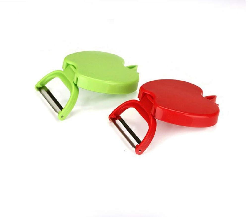 Xigua Melon Apple Shape Peeler Stainless Steel Plane Peeling Apple Plastic Peeler 2 Packs