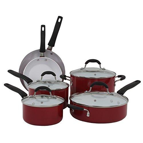 UPC 073287350151, Oneida Red 10pc Non-Stick Ceramic Aluminum Cookware Set