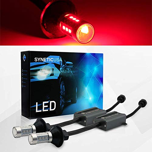 (Error Free Canbus Ready Red LED Brake Parking Tail Stop Turn Signal Light Bulbs DRL Parking Lamp No Hyper Flash All in One With Built-In Resistors (3157))
