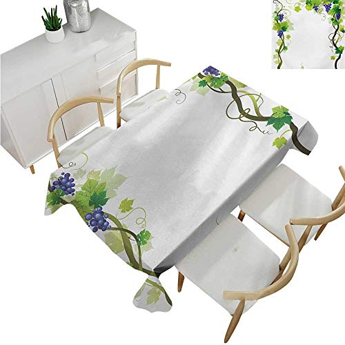 (Angoueleven VineyardParty Table clothVineyard with Swirled Leaves Freshness Fruit Garden Harvest Season Wine Growth ThemeTable Flag Home Decoration 54