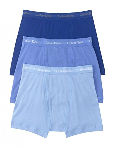 Calvin Klein Men's Underwear Cotton Classics Boxer Briefs - Large - Blue Assorted (Pack of 3)