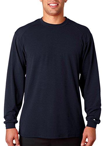 - Badger Sportswear Adult Moisture Management Long-Sleeve Athletes T-Shirt, Navy, Large