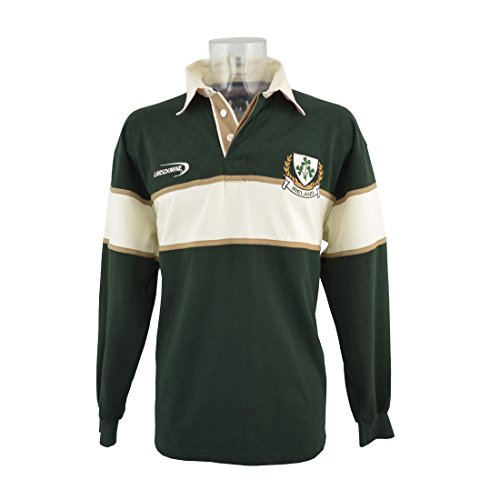 - Polo Shirt with Cream & Gold Stripe and Ireland Shamrock Crest,Green,X-Large