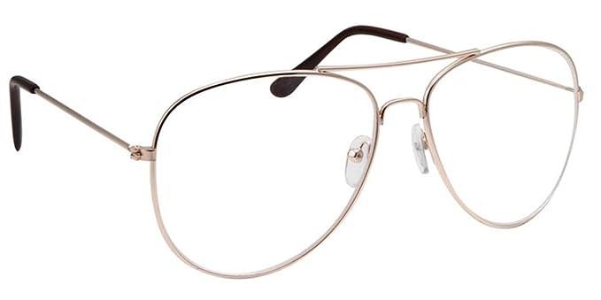 c1db3914157 Classic Vintage Style Metal Frame Aviator Clear Lens Glasses Eyeglasses ( Gold